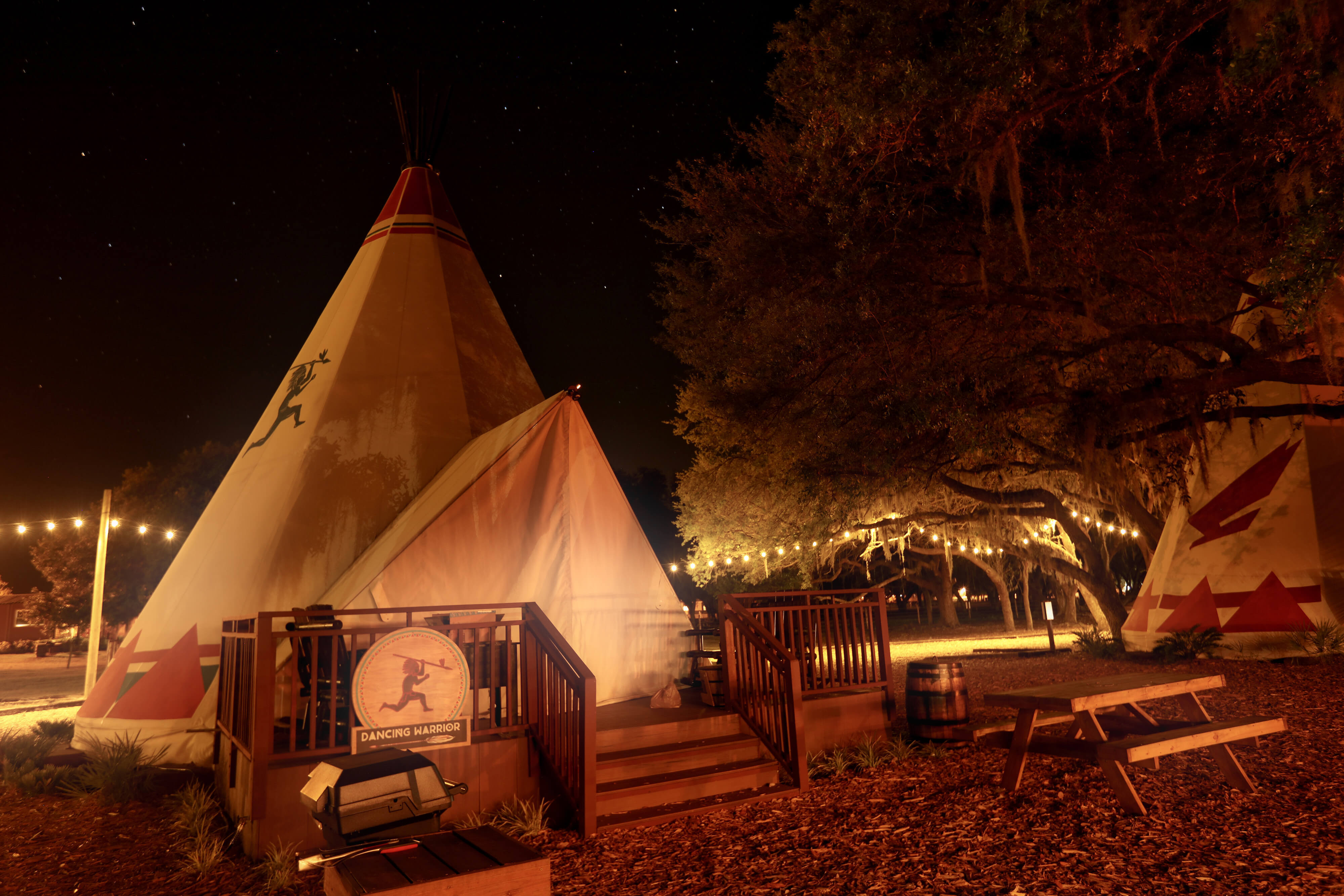 Luxe Teepee at Night for Glamping | Westgate River Ranch Resort & Rodeo | Westgate Resorts