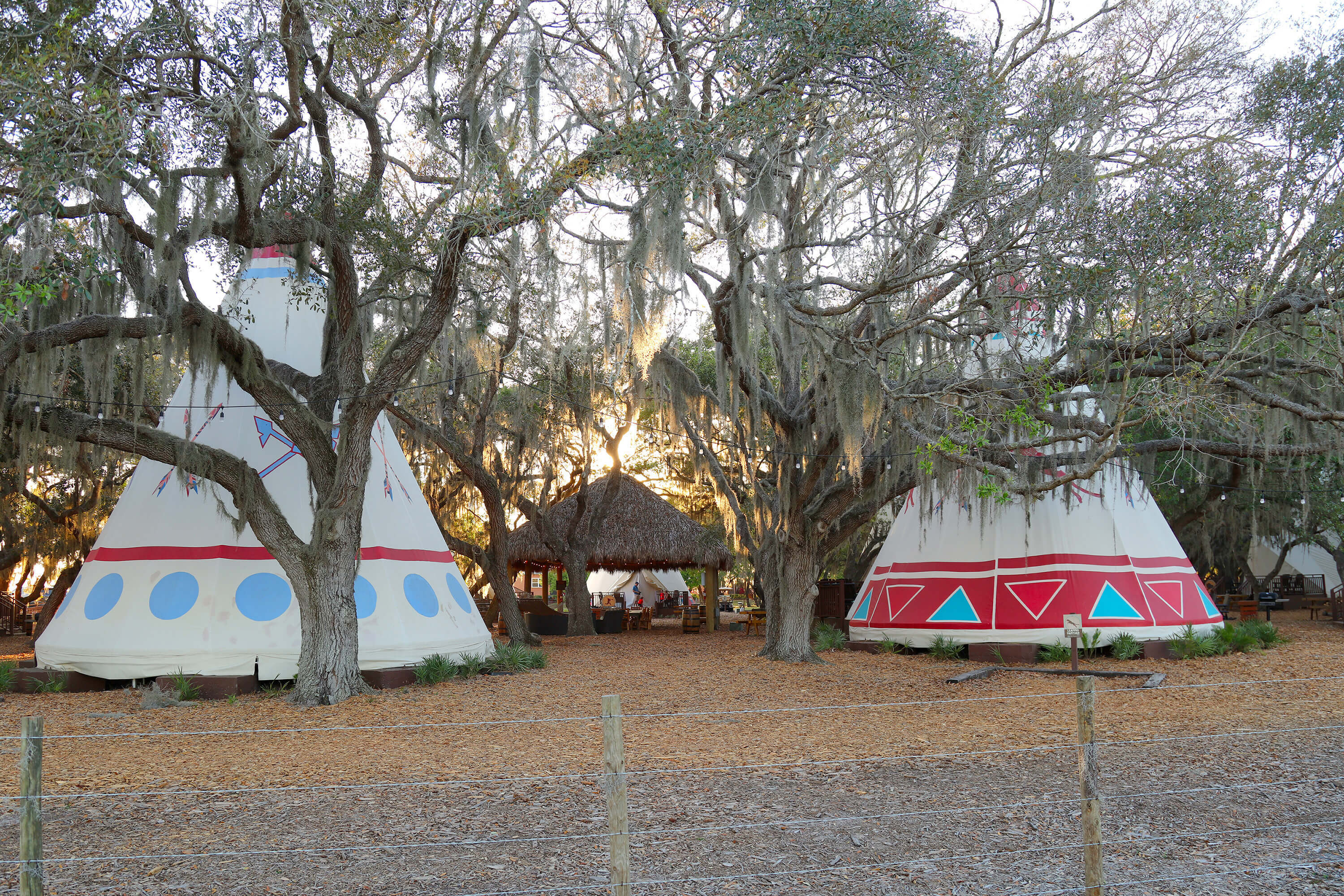 Luxe Teepees with Chickee Hut in background | Westgate River Ranch Resort & Rodeo | Westgate Resorts