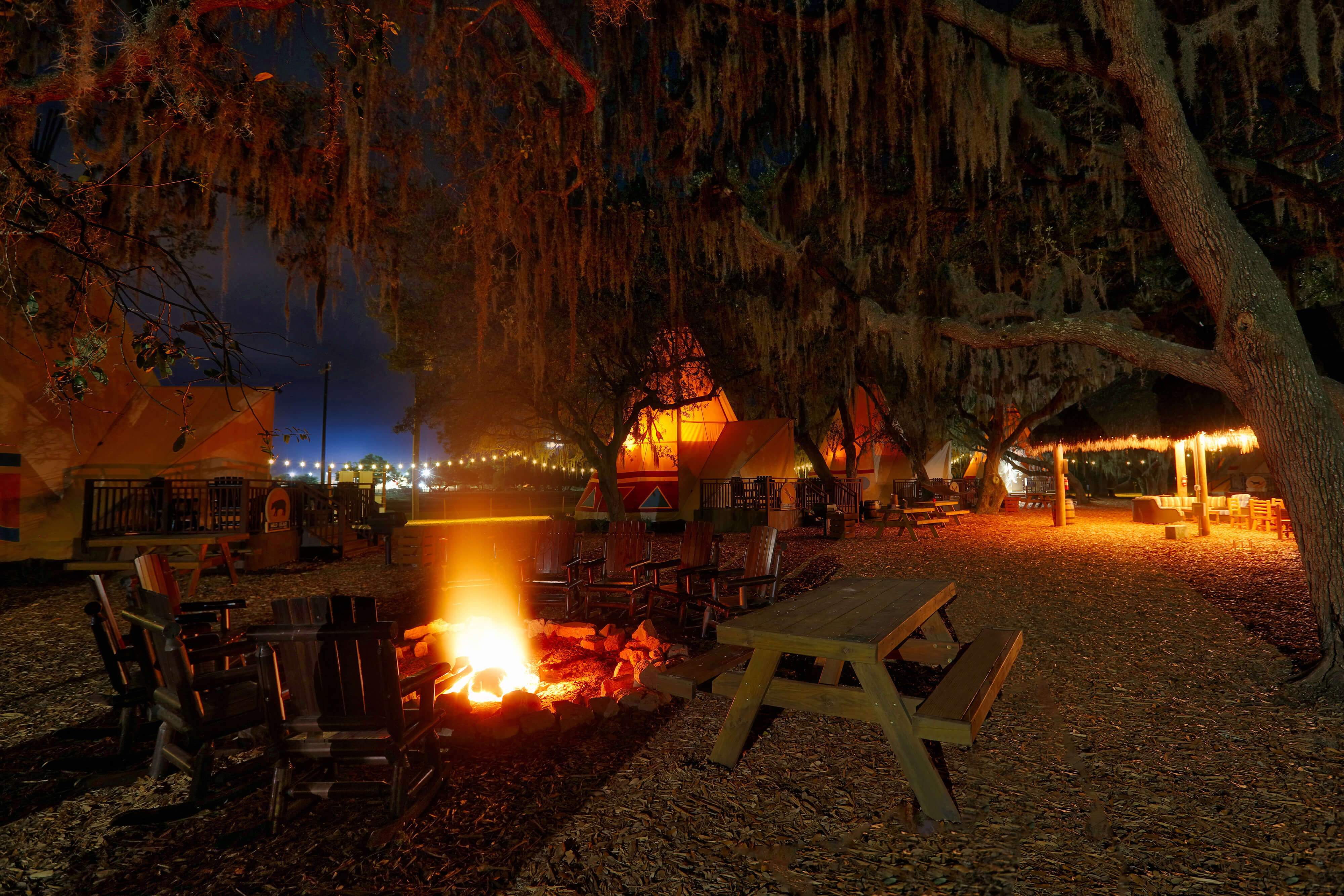 Firepit and Hanging Out in the Evening | River Ranch Resort & Rodeo | Westgate Resorts