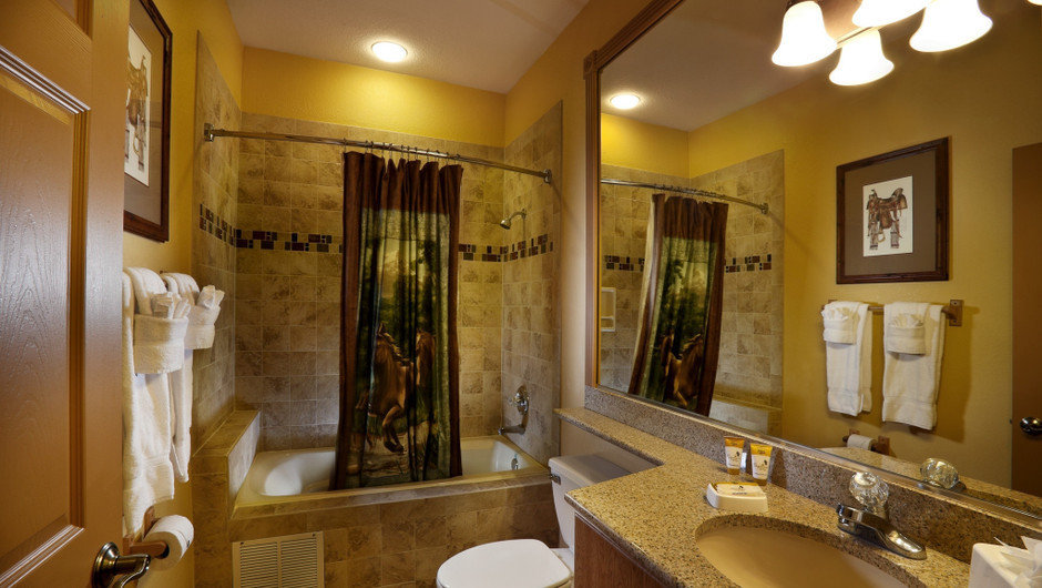 Bathroom in Saddle Club Studio Cabin |  Westgate River Ranch Resort & Rodeo | Westgate Resorts