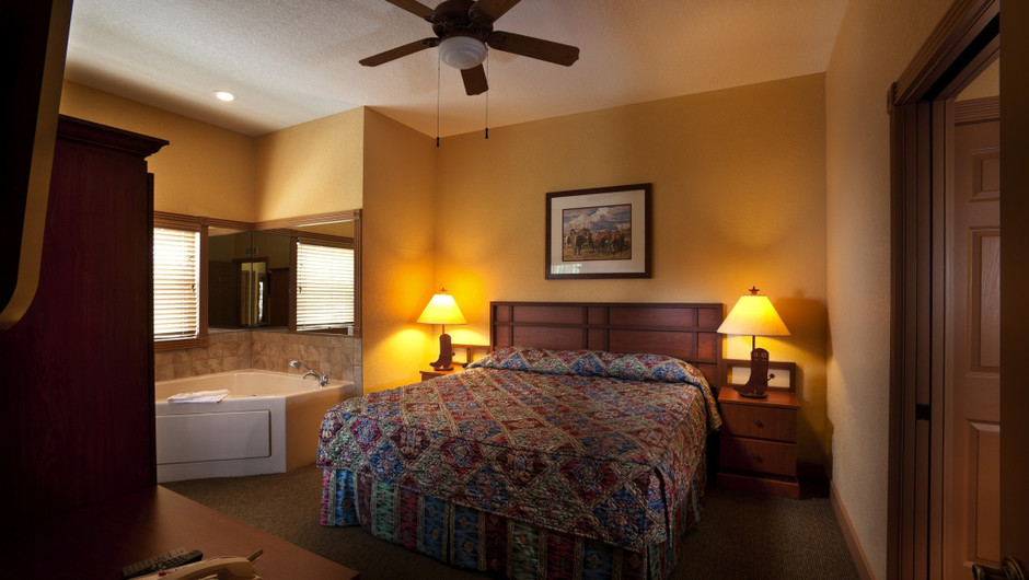 Bed in Saddle Club Two-Bedroom Cabin |  Westgate River Ranch Resort & Rodeo | Westgate Resorts