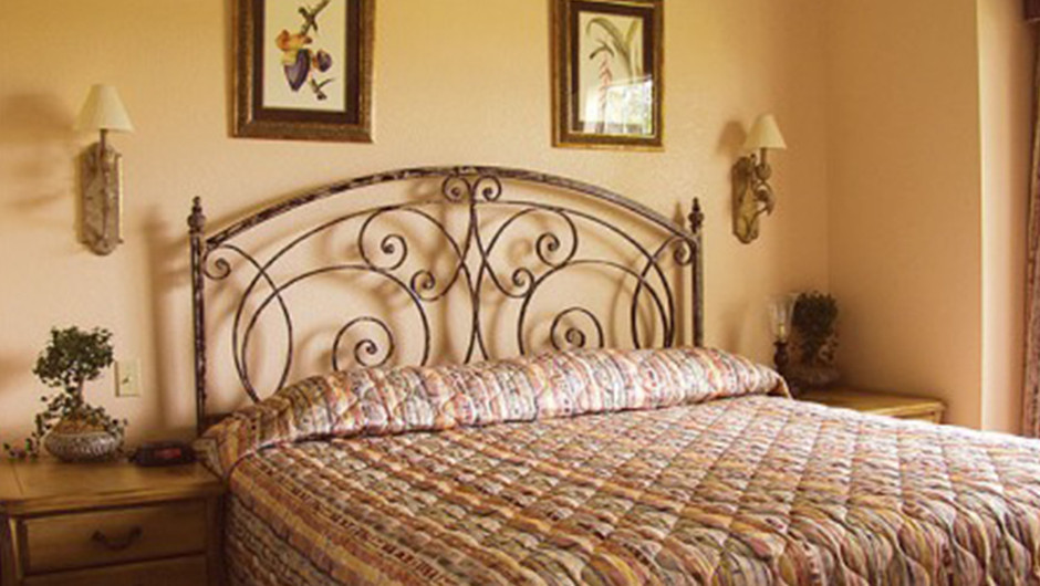 Westgate Tunica Resort one-bedroom villa features a king bed in the bedroom