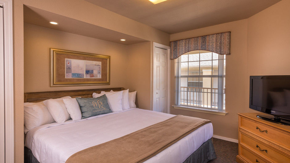 Bed in Two-Bedroom Lake View Deluxe Villa at the resorts in Missouri | Westgate Branson Lakes Resort | Westgate Resorts