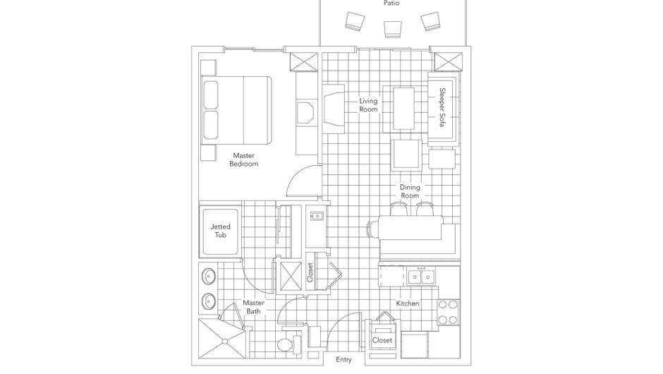 Signature One-Bedroom Villa Floorplan at our Park City Resort in Utah | Westgate Park City Resort & Spa | Westgate Resorts