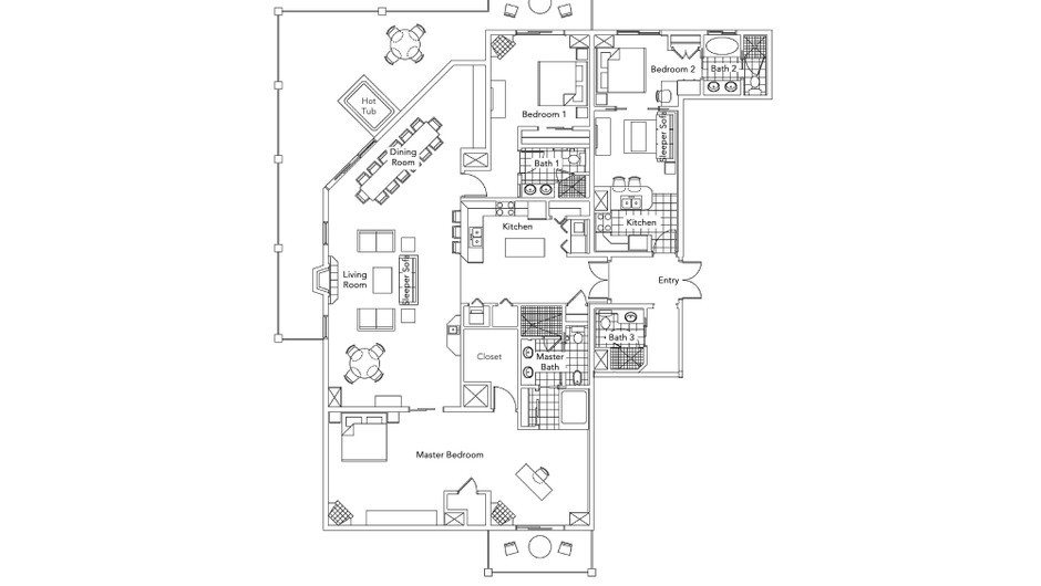 Luxury Three-Bedroom Villa Floorplan at our Park City Resort in Utah | Westgate Park City Resort & Spa | Westgate Resort