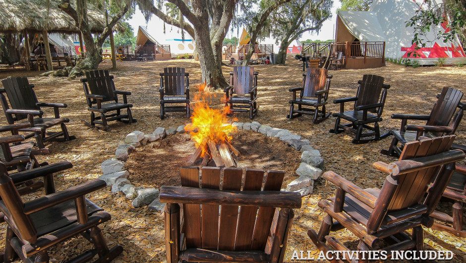 Firepit Outside Luxe Teepees |  Westgate River Ranch Resort & Rodeo | Westgate Resorts