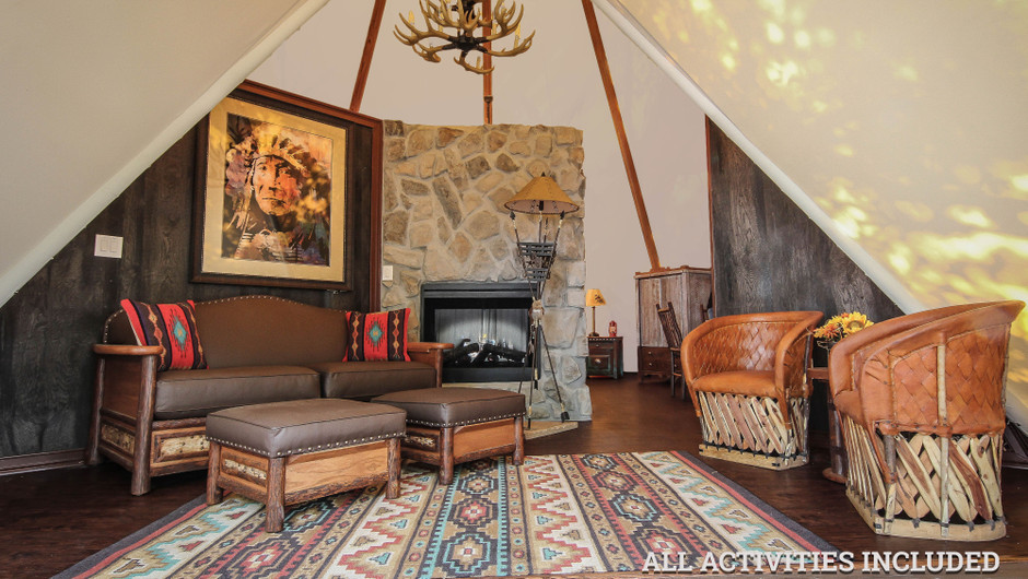 Rustic Furnishings in Luxe Teepee Accommodations |  Westgate River Ranch Resort & Rodeo | Westgate Resorts