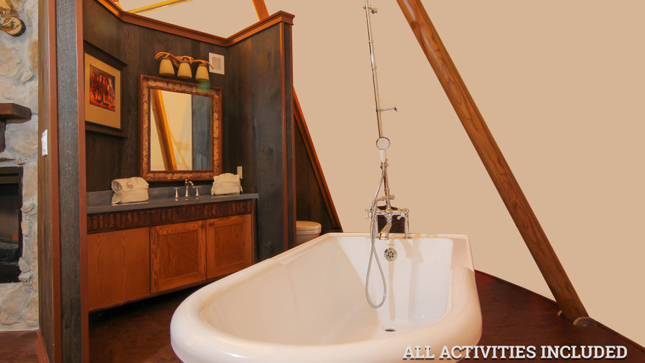 Old Fashioned Bathtub in Luxe Teepee |  Westgate River Ranch Resort & Rodeo | Westgate Resorts
