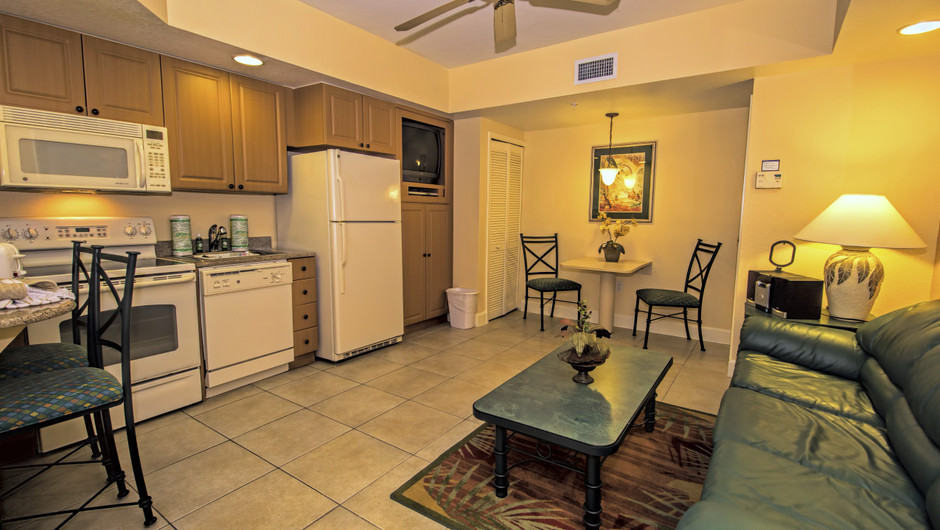 Living Area and Kitchen | Two-Bedroom Villa | Westgate Town Center Resort & Spa | Westgate Resorts