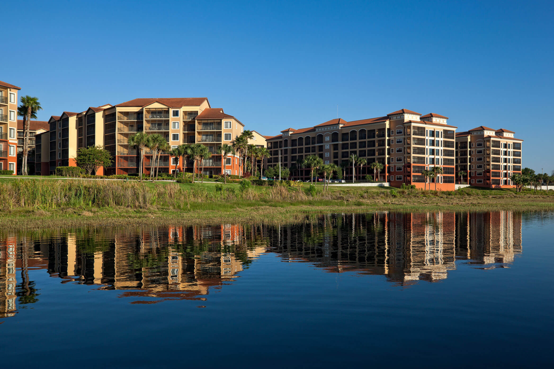 Resort Building Seen from Lake | Westgate Lakes Resort & Spa | Orlando, FL | Westgate Resorts