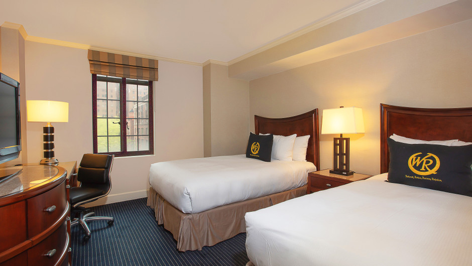 Signature Two Double Beds Balcony Guestroom around Midtown Manhattan NYC | Westgate New York City | New York Hotel Rooms