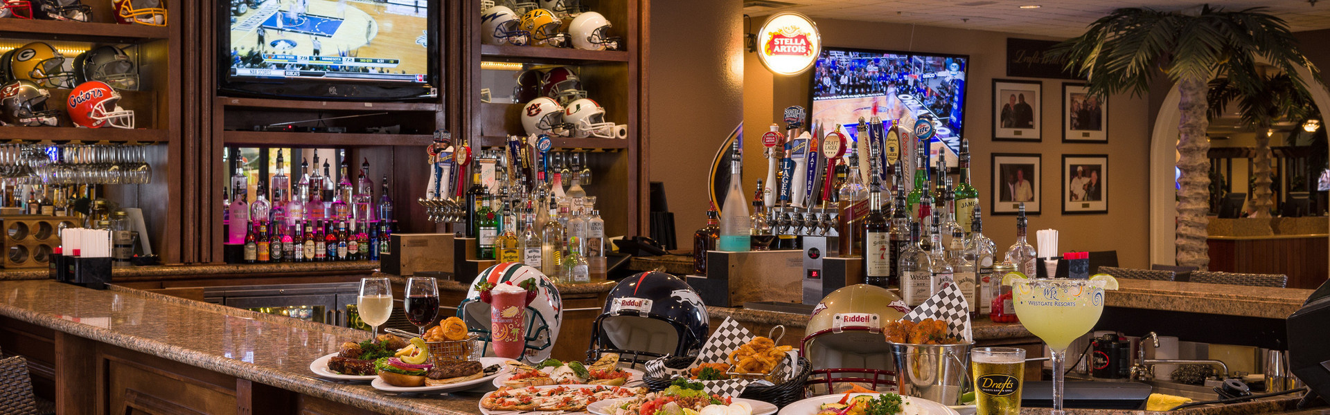 Inside the best best sports bar Kissimmee, FL! Explore the menu for Drafts Sports Bar & Grill at Westgate Vacation Villas Resort!