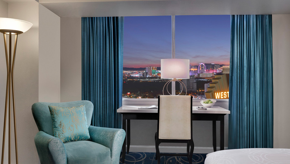 The modern décor and spaciousness of the Luxe Room at Westgate Las Vegas Resort & Casino offers all the comforts of home with 400 square feet of space and room for up to four guests.