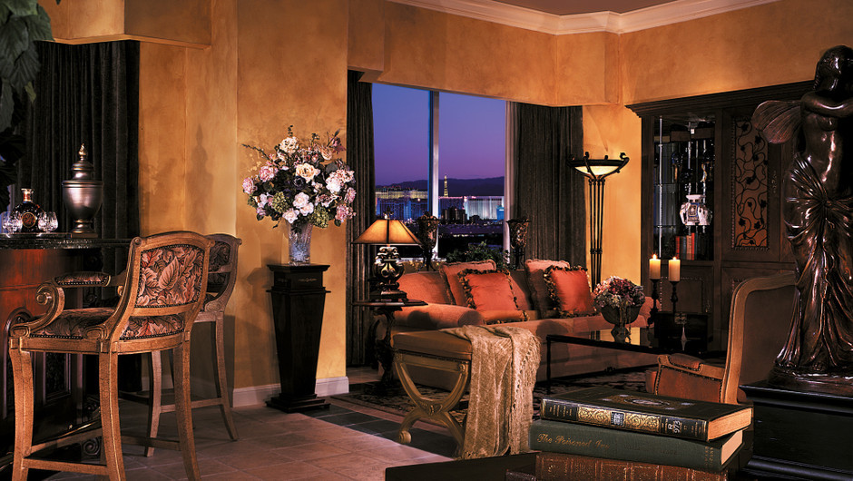 Sedate décor in a spacious 1500 square feet create a beautiful resting space in the Napa Suite at Las Vegas Resort & Casino.