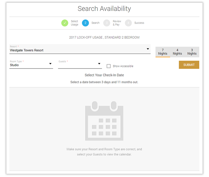Search Availability & Select your Dates