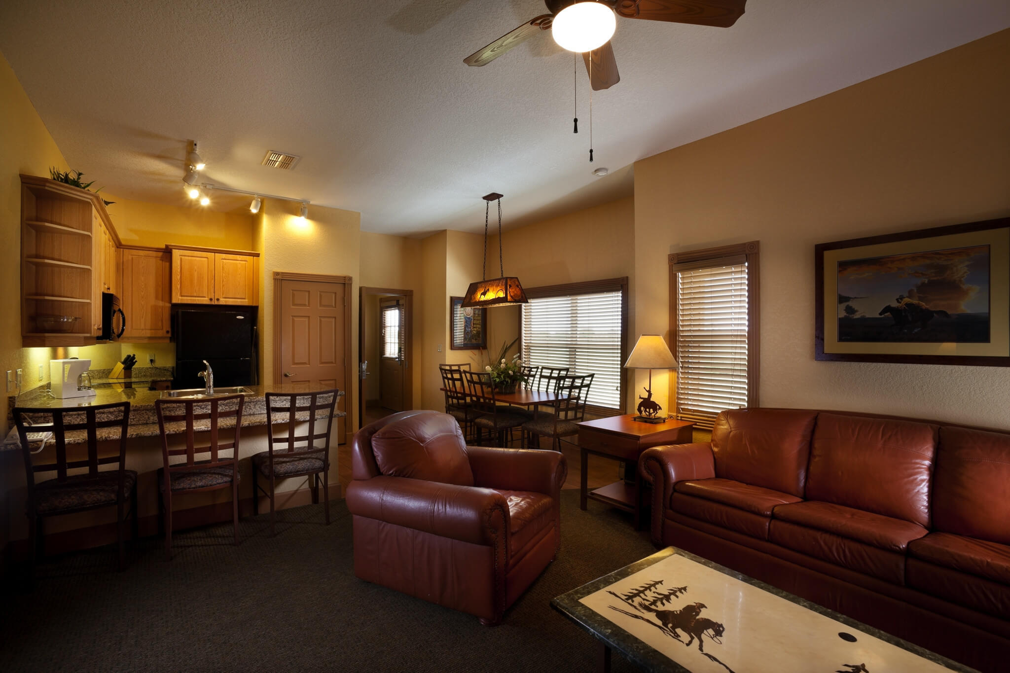Furnishings in Saddle Club One-Bedroom Grand Cabin |  Westgate River Ranch Resort & Rodeo | Westgate Resorts