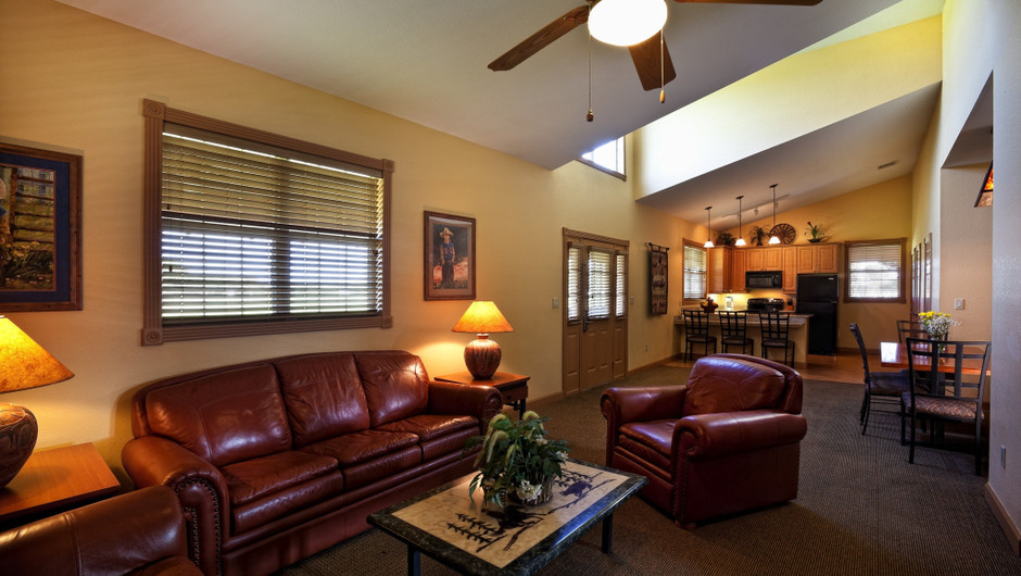Living Area in Saddle Club Two-Bedroom Cabin |  Westgate River Ranch Resort & Rodeo | Westgate Resorts