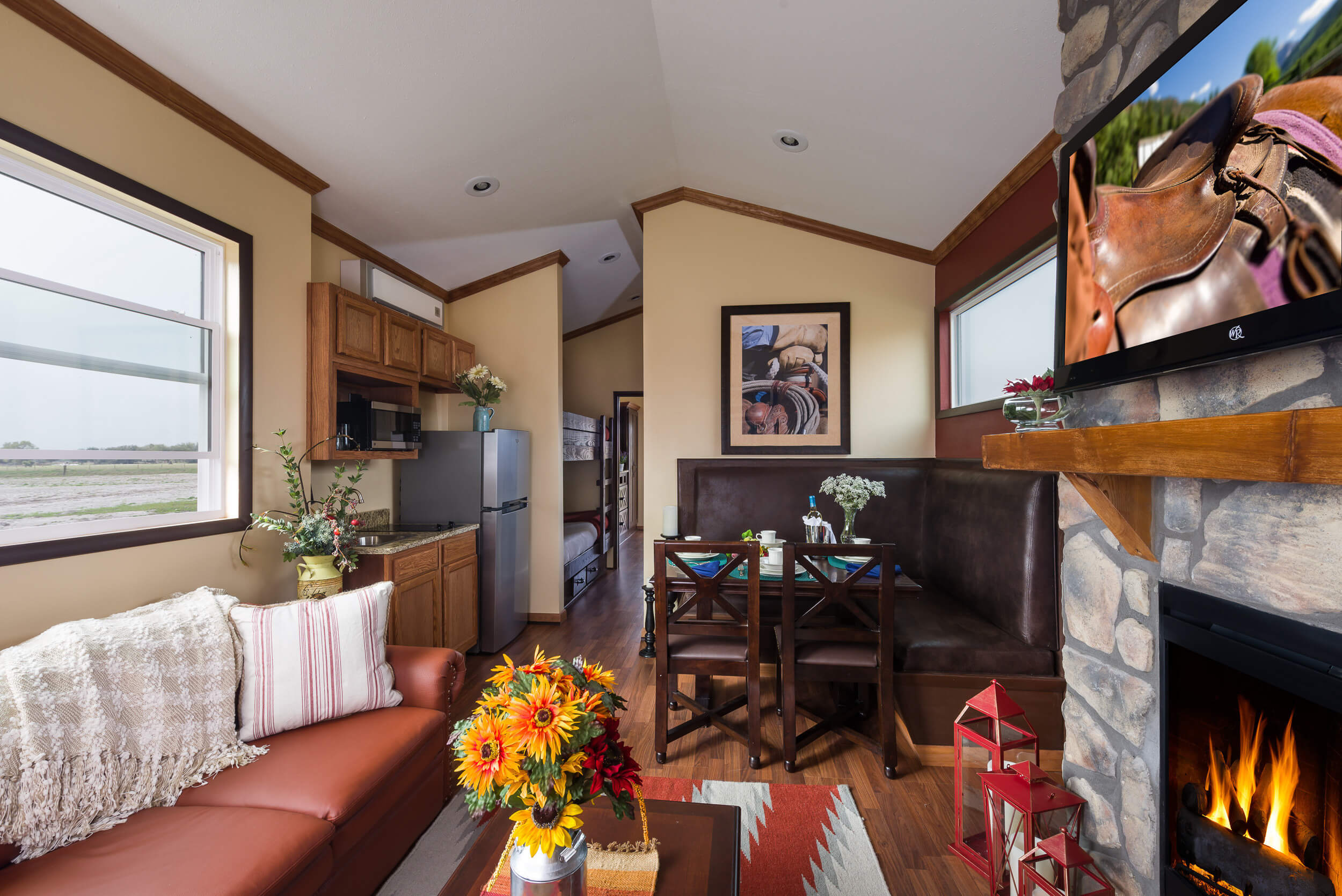 Living Area with Fireplace in Rail Car | Westgate River Ranch Resort & Rodeo