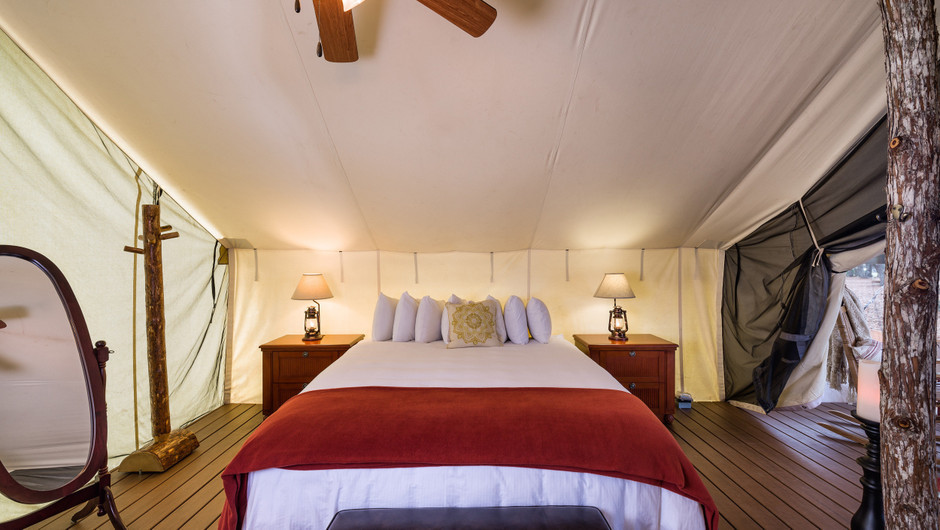 Glamping Luxury Bed View |  Westgate River Ranch Resort & Rodeo | Westgate Resorts