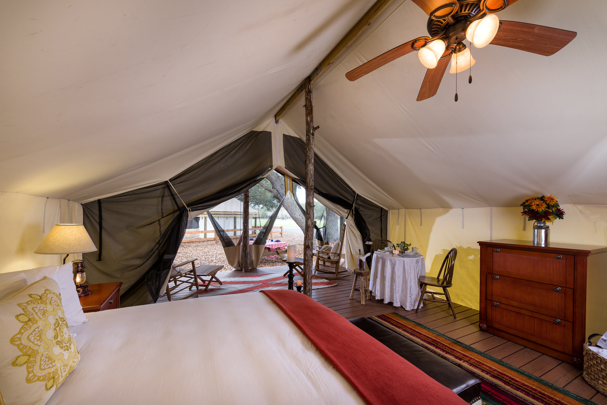 Interior of Glamping tent with King Bed | Westgate River Ranch Resort & Rodeo