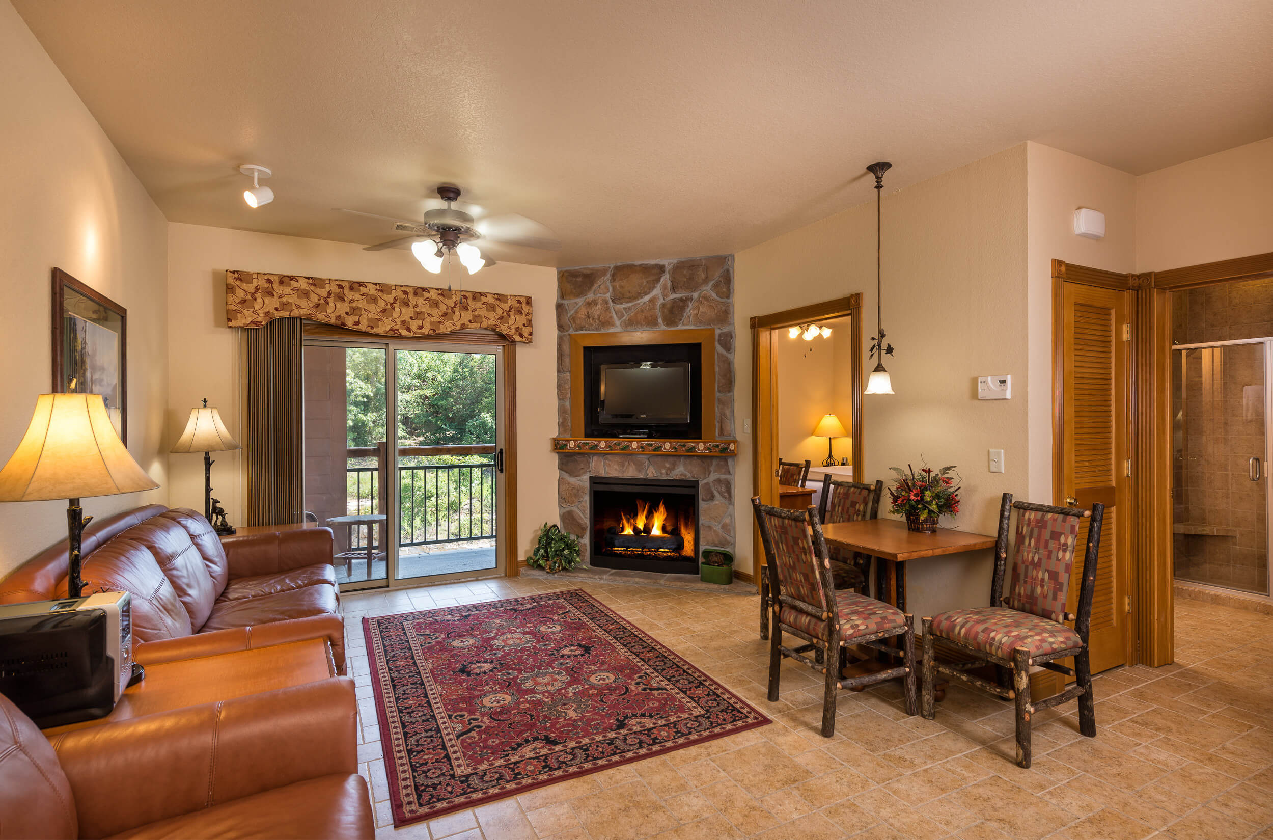 Living Area with fireplace in One-Bedroom Villa | Westgate Branson Woods Resort