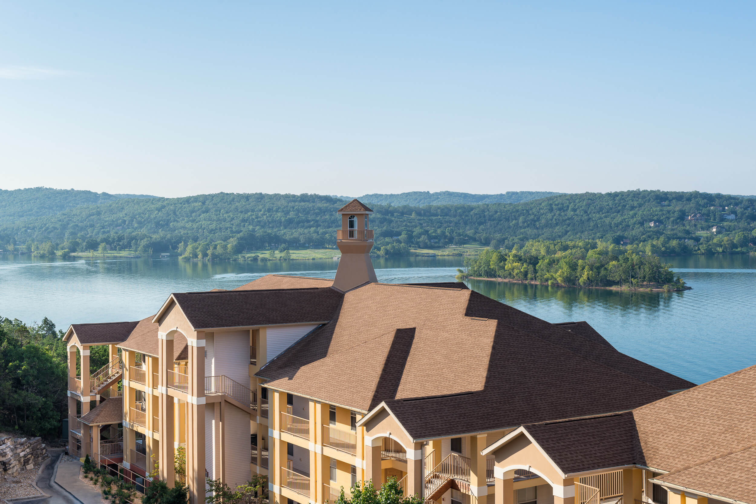 Resort exterior with Table Rock Lake in background | Westgate Branson Lakes Resort