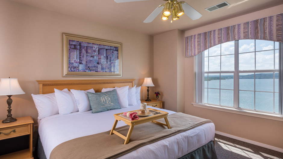 Bed in One-Bedroom Lake View Deluxe Villa at our lake resorts in Missouri | Westgate Branson Lakes Resort | Westgate Resorts in Missouri