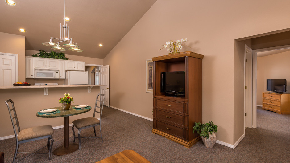 Living Area Two-Bedroom Lake View Deluxe Villa at the resorts in Missouri | Westgate Branson Lakes Resort | Westgate Resorts