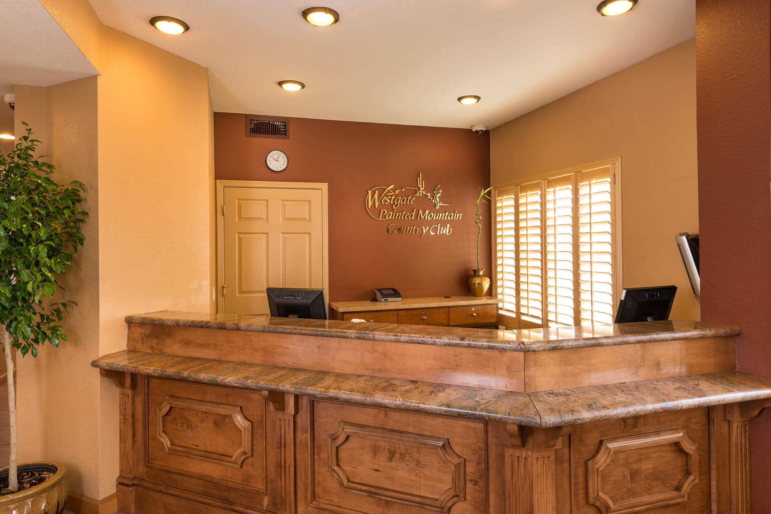 Front desk in lobby at Mesa resort | Westgate Painted Mountain Resort | Westgate Resorts Mesa AZ