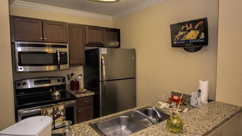 Kitchen in One Bedroom Villa at our Orlando resorts   Westgate Blue Tree Resort   Westgate Resorts Orlando