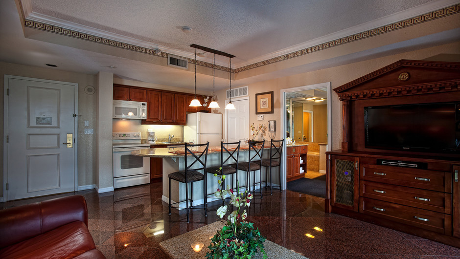 Living Area and Kitchen | Two-Bedroom Deluxe Villa | Westgate Palace Resort | Orlando, FL | Westgate Resorts