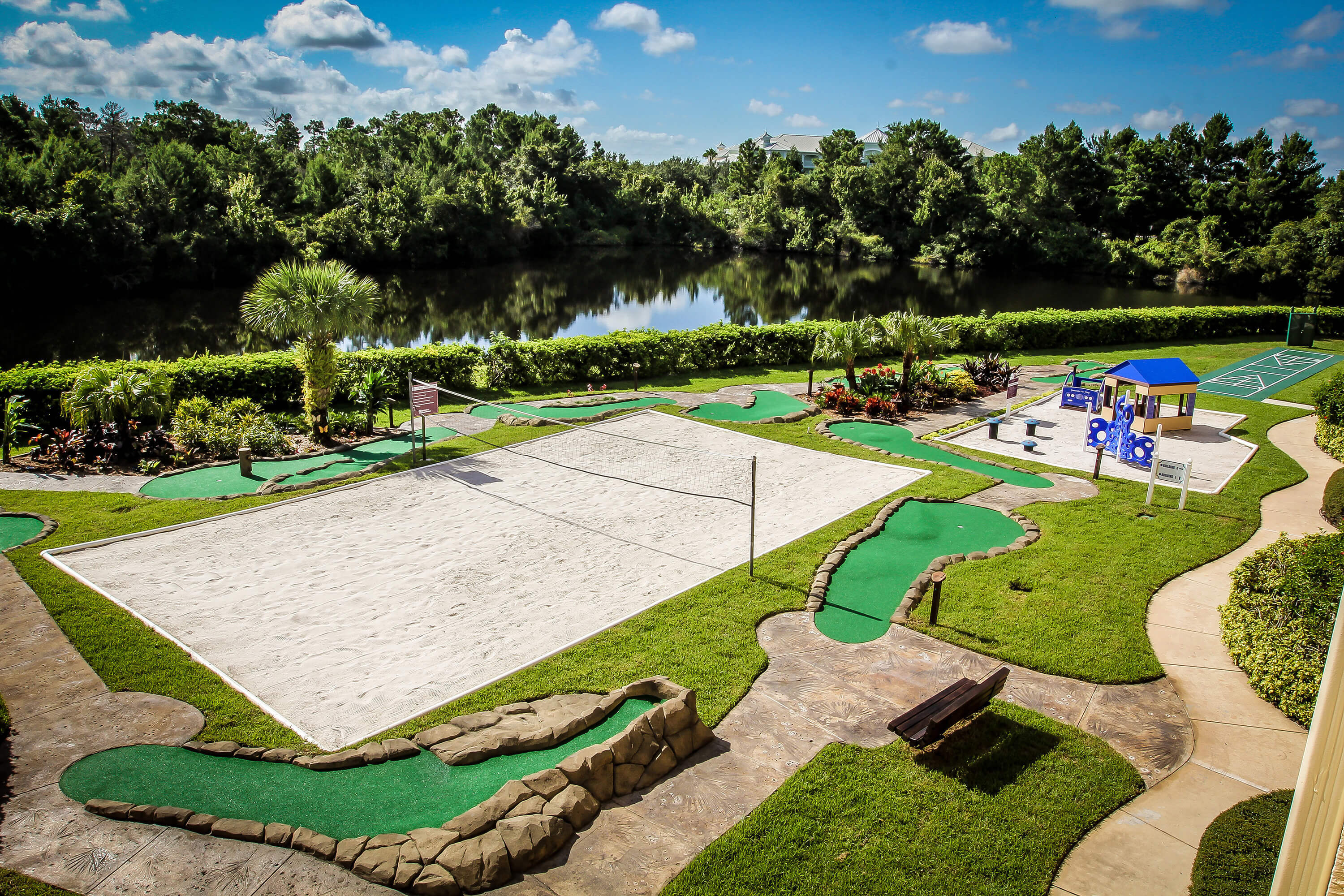 Sand Volleyball Court surrounded by Mini Golf Course | Westgate Leisure Resort