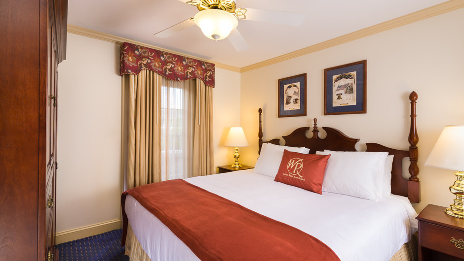 Bed in Studio at our resorts in Williamsburg VA | Westgate Historic Williamsburg Resort | Westgate Resorts