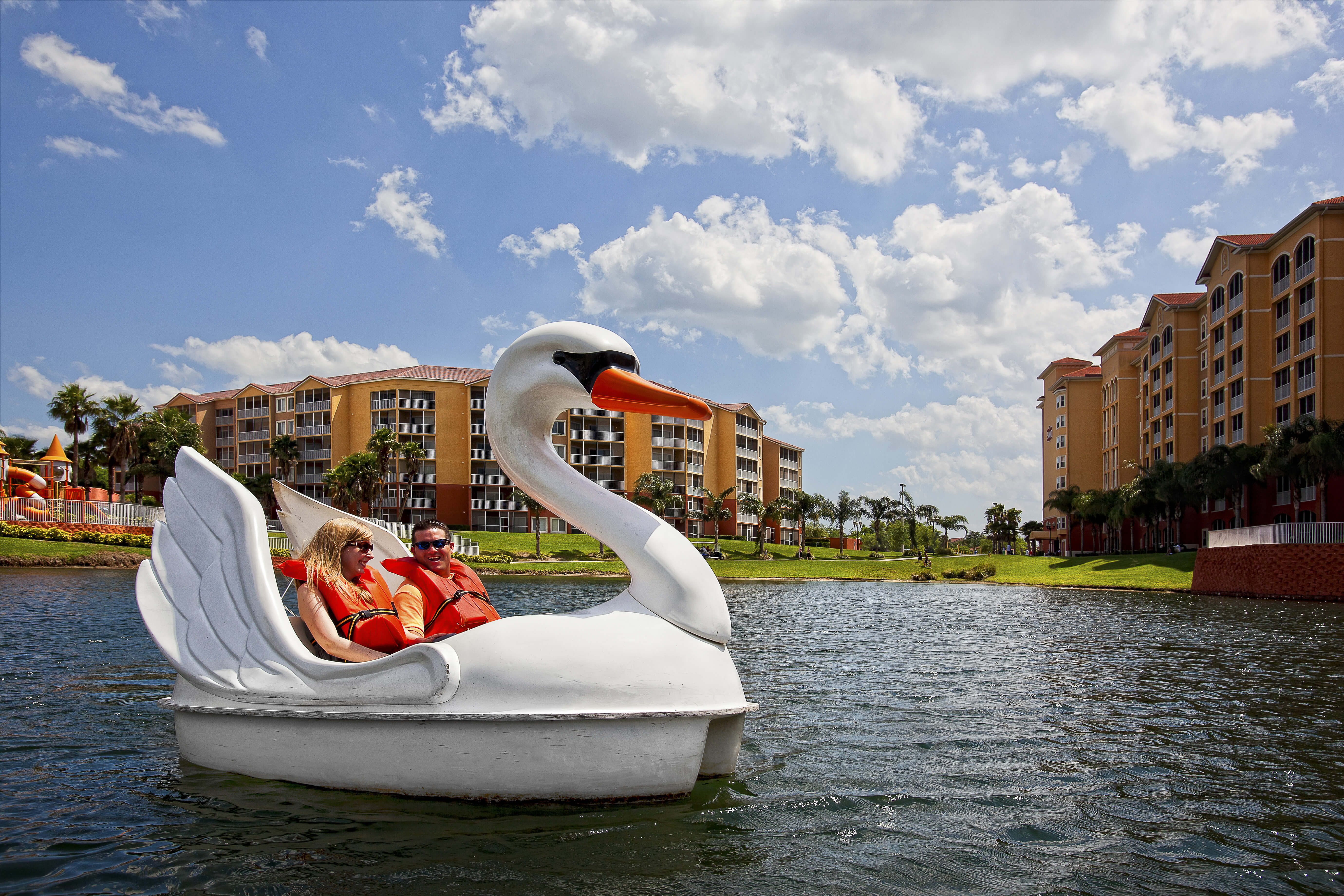 Couple on Swan Boat ride | Westgate Town Center Resort & Spa