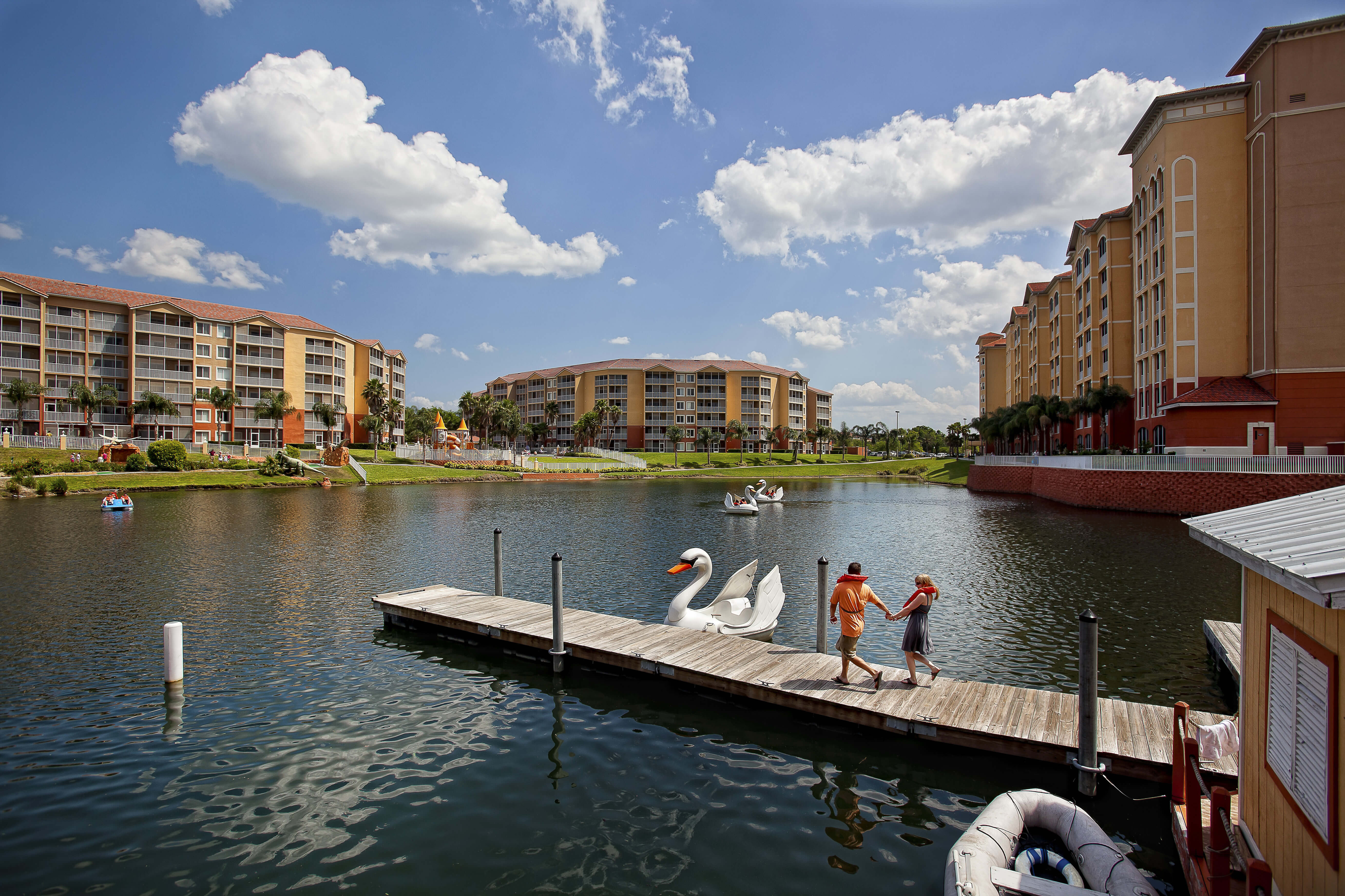 Swan Boat at Dock | Westgate Town Center Resort & Spa | Westgate Resorts