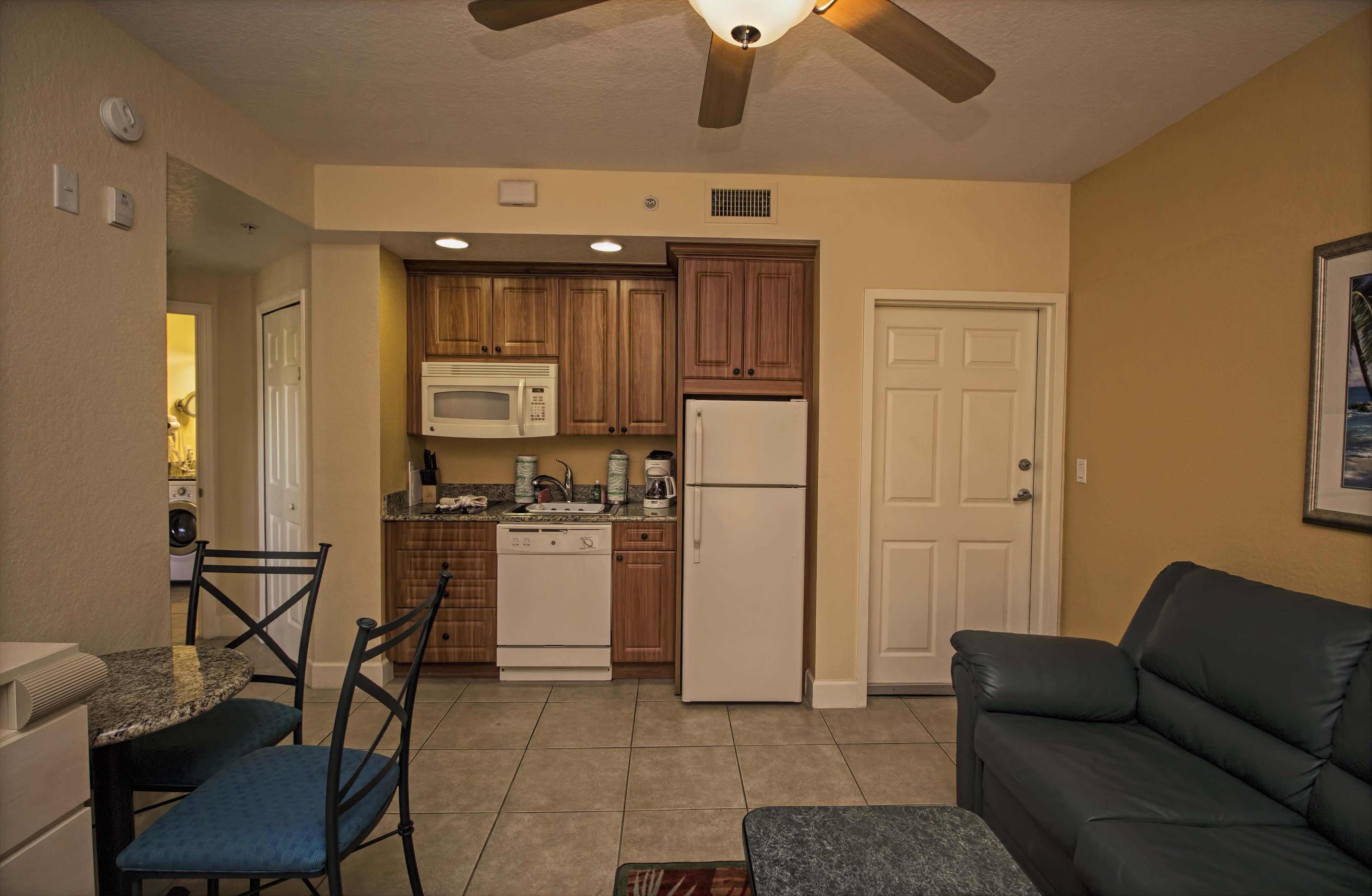 Living Area and Kitchen | One-Bedroom Villa | Westgate Town Center Resort & Spa | Westgate Resorts
