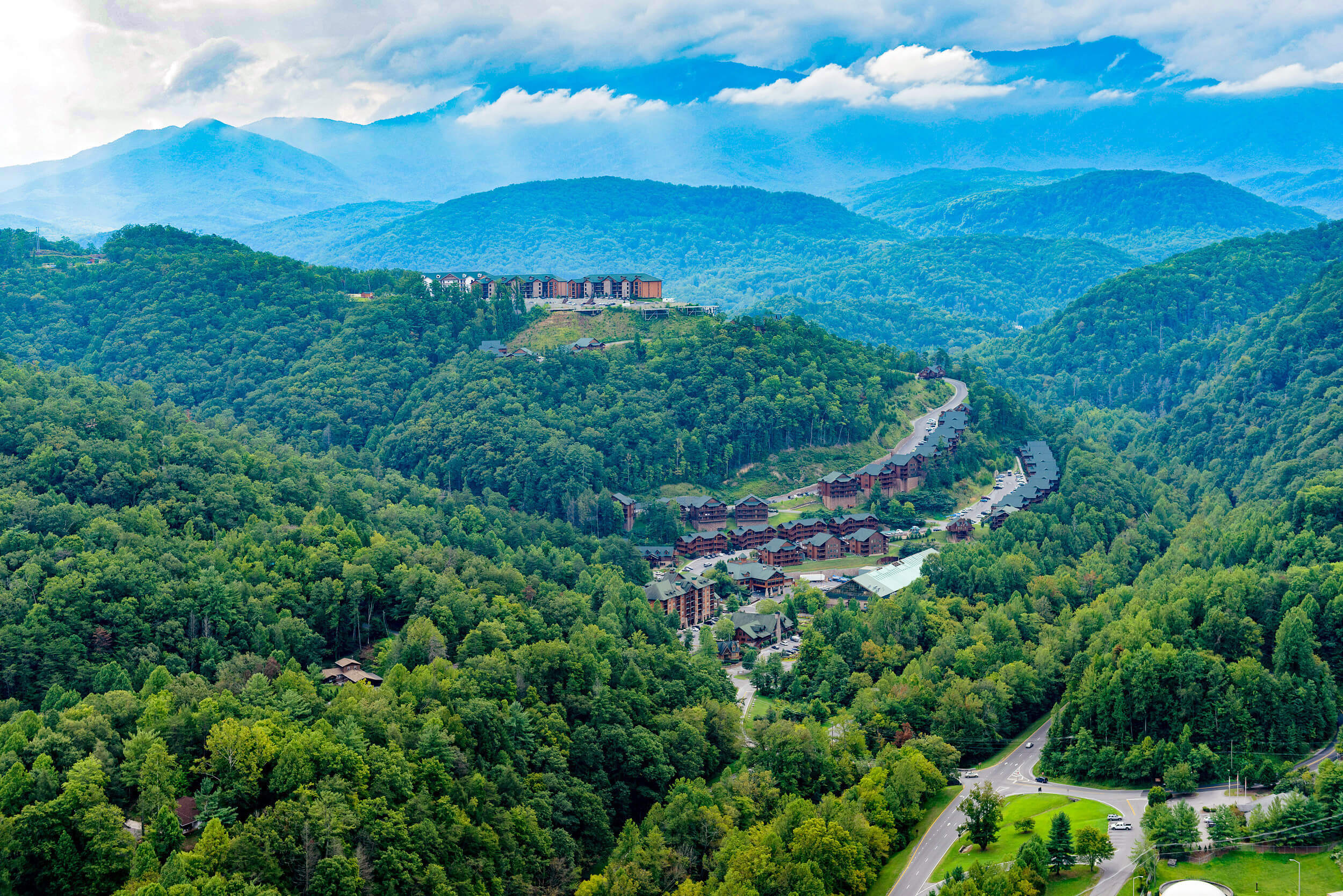 Great Smoky Mountains with Resort Buildings | Westgate Smoky Mountain Resort & Spa