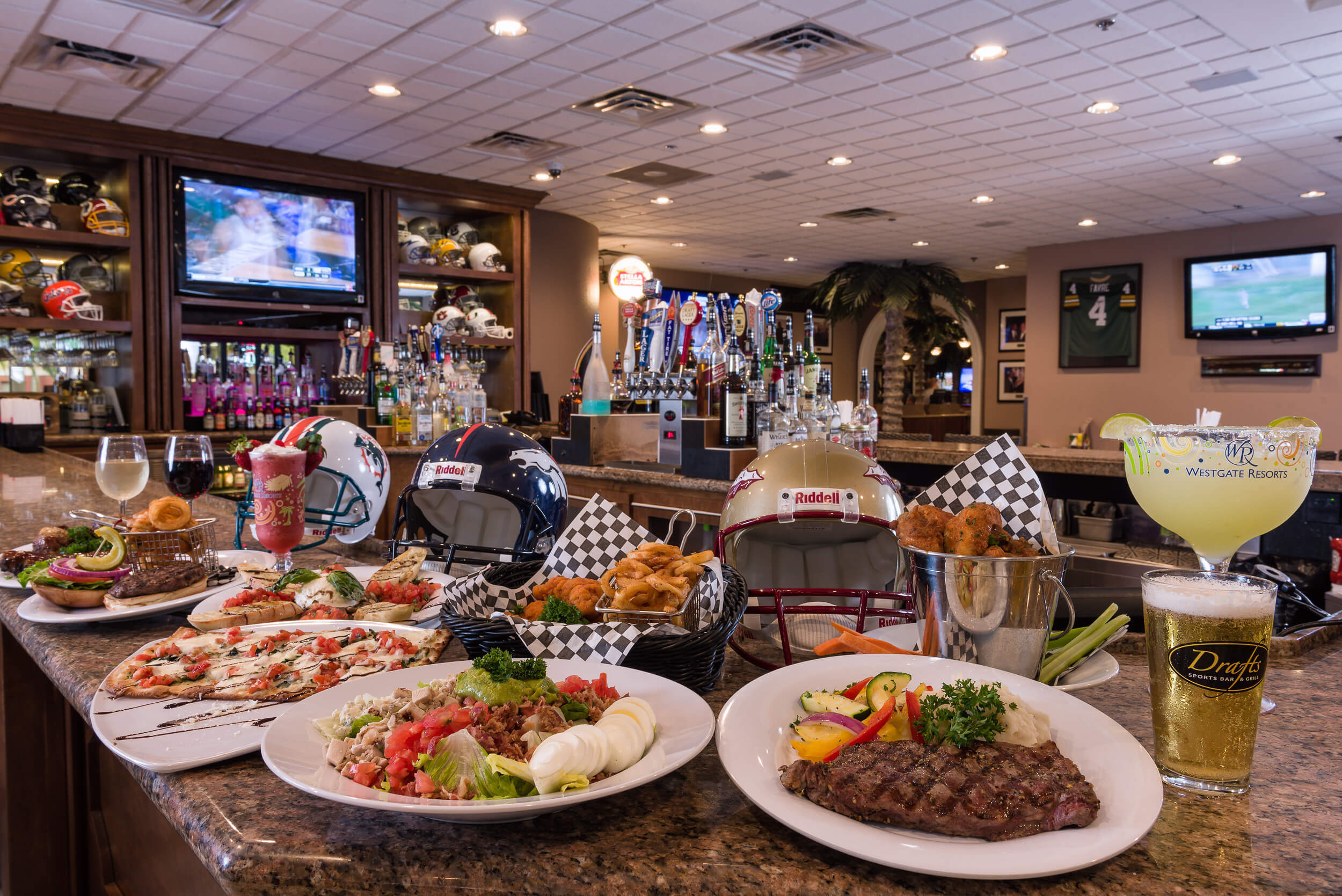 Drafts Sports Bar Decorated with Food and Helmets | Westgate Vacation Villas Resort & Spa | Orlando, FL | Westgate Resorts
