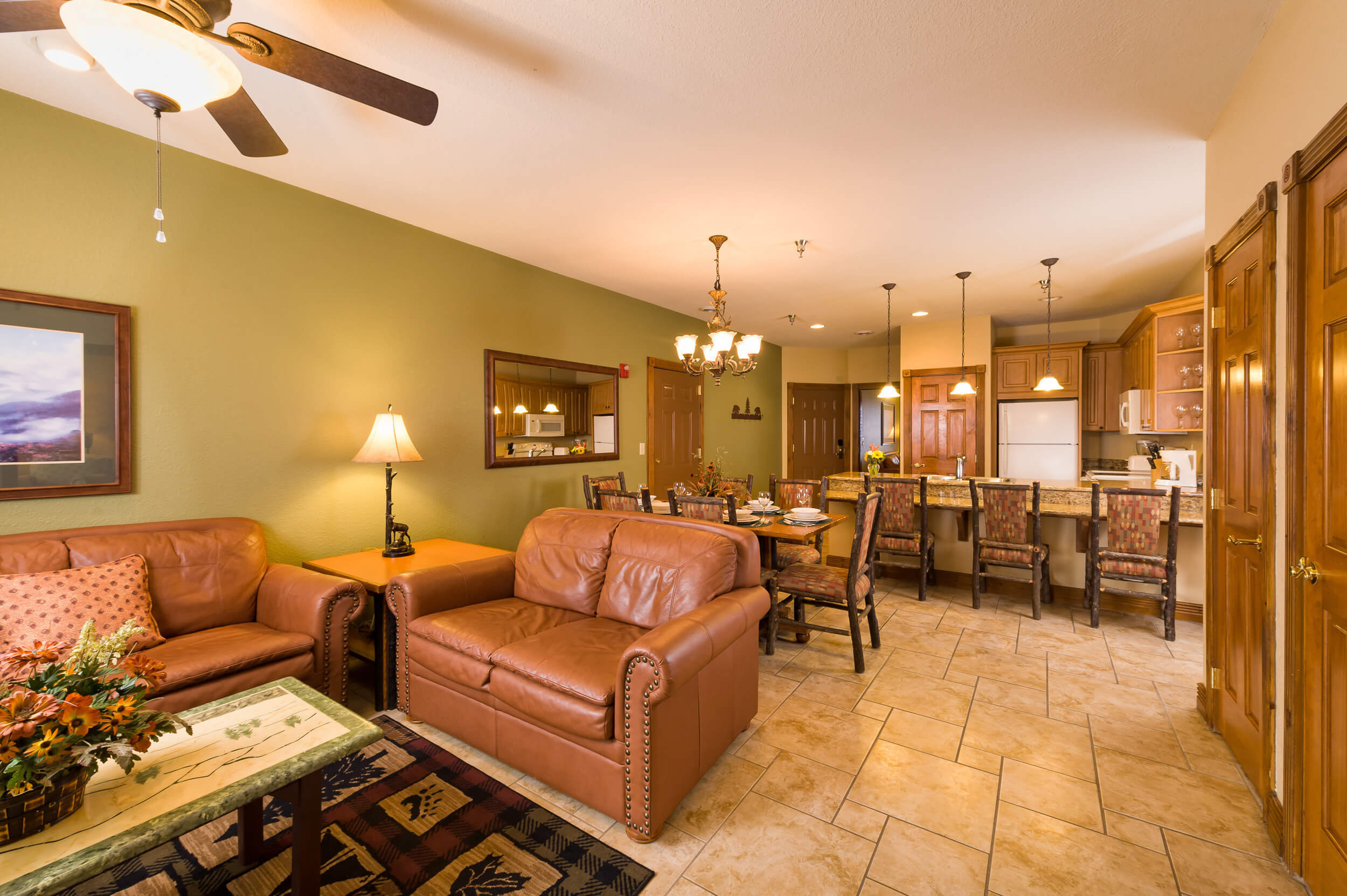 Living area and dining area in spacious villa | Westgate Smoky Mountain Resort & Spa