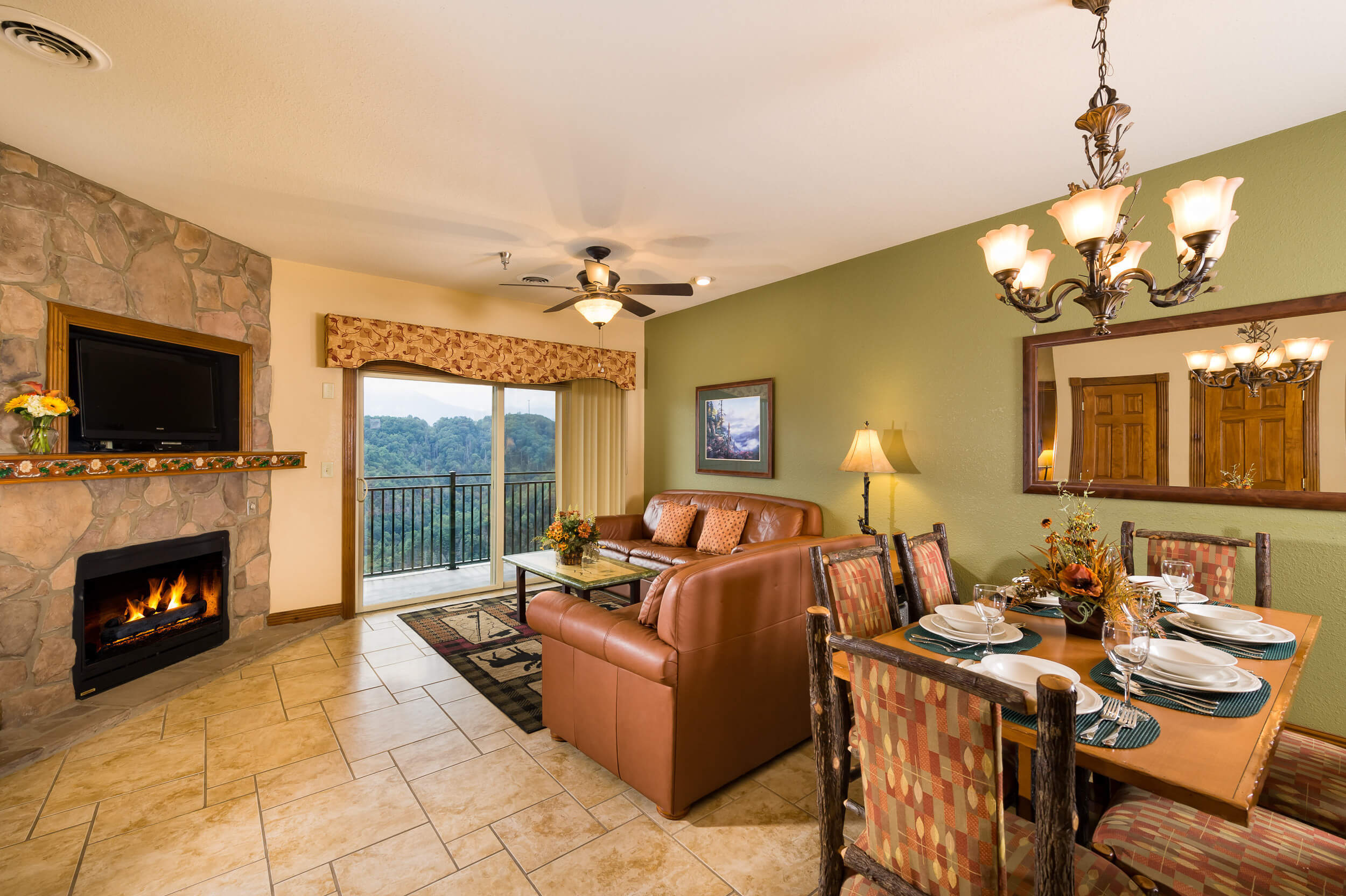 Living/Dining Area with Flat-Screen TV and Fireplace | Westgate Smoky Mountain Resort & Spa
