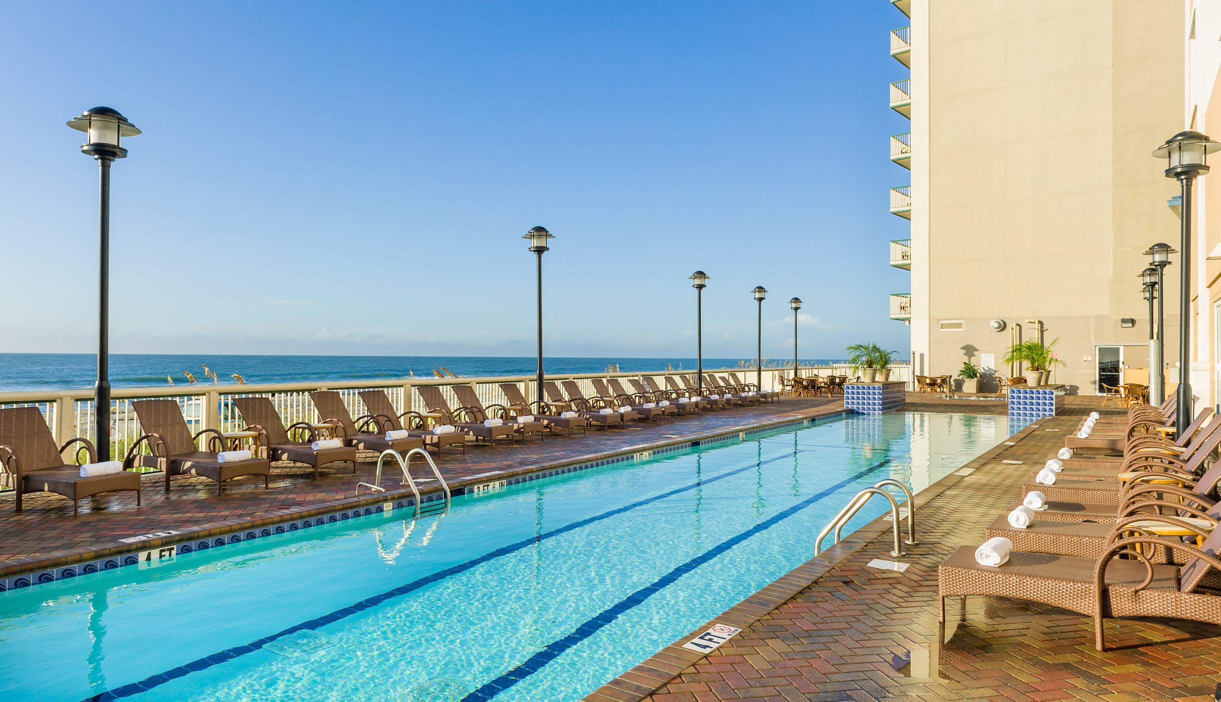 Heated Outdoor Pool With Lounge Chairs Overlooking Beach Westgate Myrtle Beach Oceanfront Resort