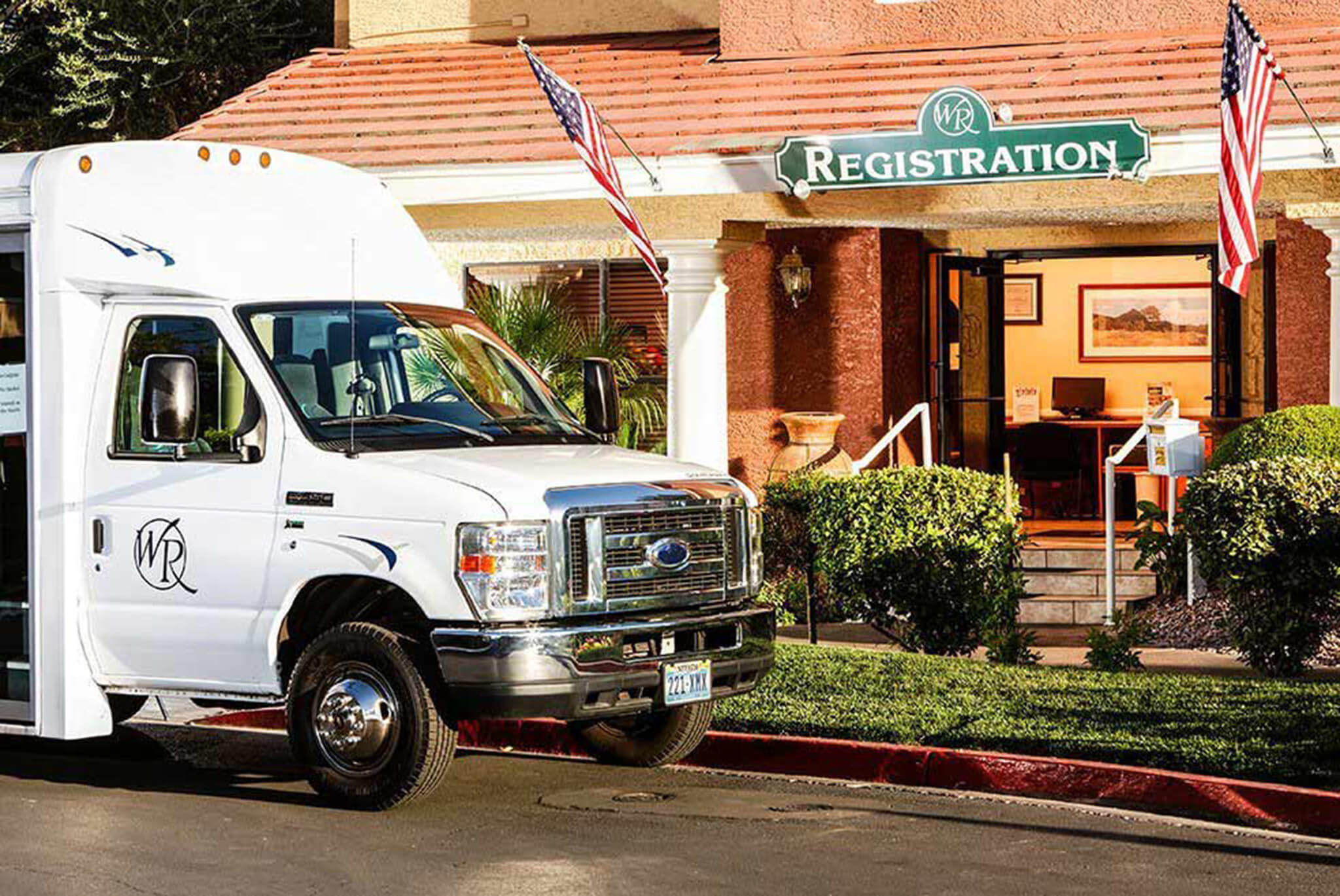 Complimentary shuttle in front of Registration Building | Westgate Flamingo Bay Resort