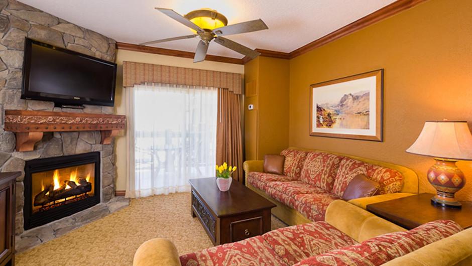 Fireplace in the Luxury Two-Bedroom Villa at our Park City Resort in Utah | Westgate Park City Resort & Spa | Westgate Resort