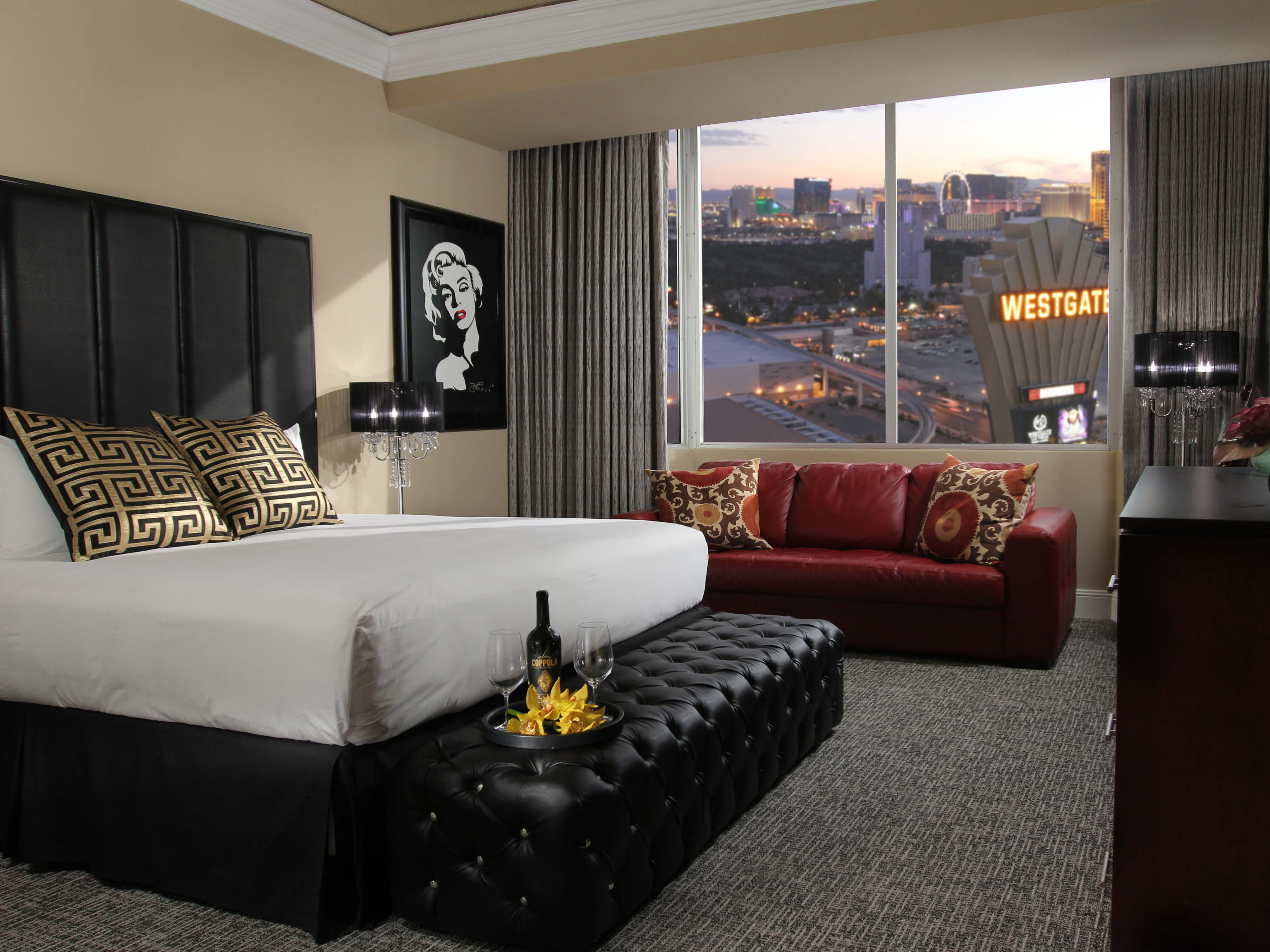 King Bed in Signature Room at sunset | Westgate Las Vegas Resort