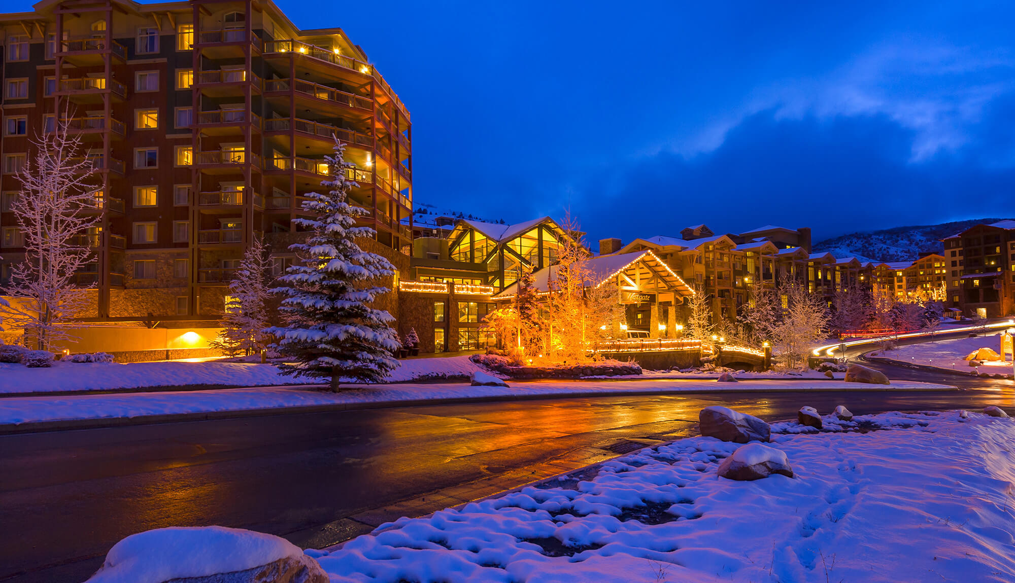 Wintry scene in front of main entrance to Park City resort | Westgate Park City Resort & Spa