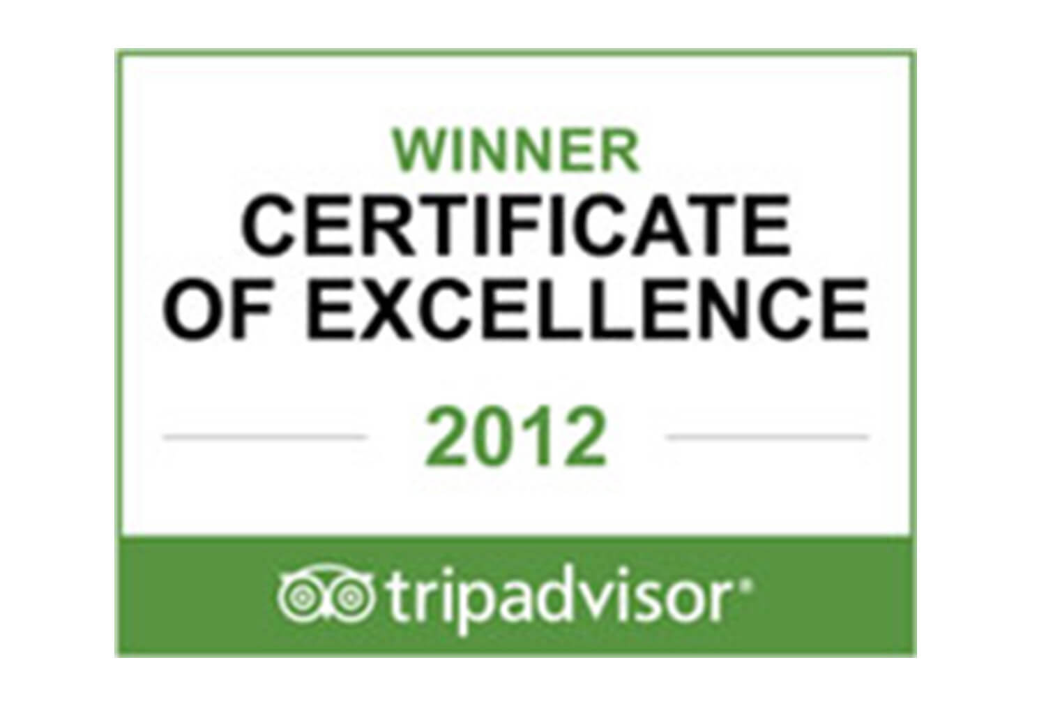 2012 Certificate of Excellence Winner, Tripadvisor | Westgate Resorts