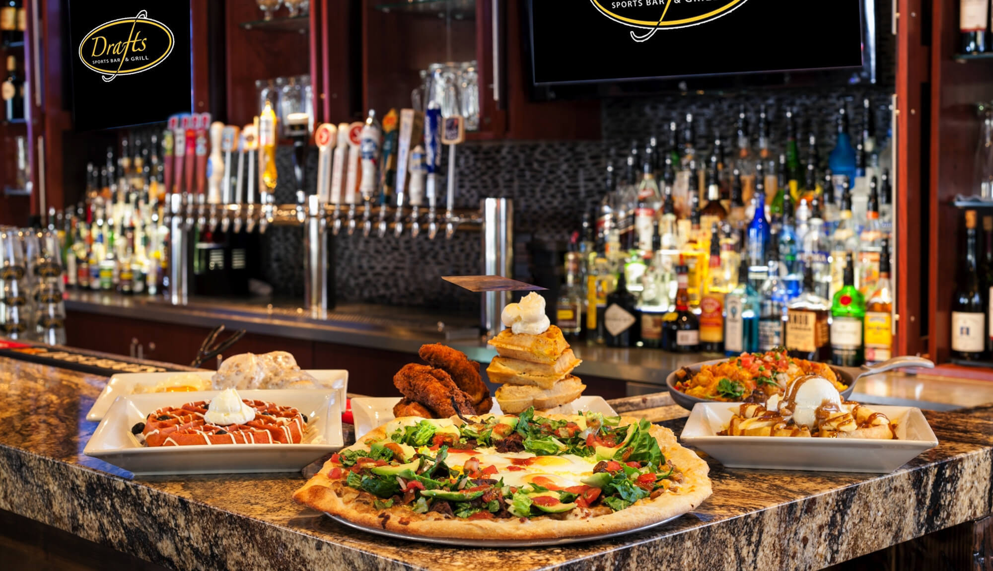 Pizza and dessert selections from Park City sports bar | Westgate Park City Resort & Spa