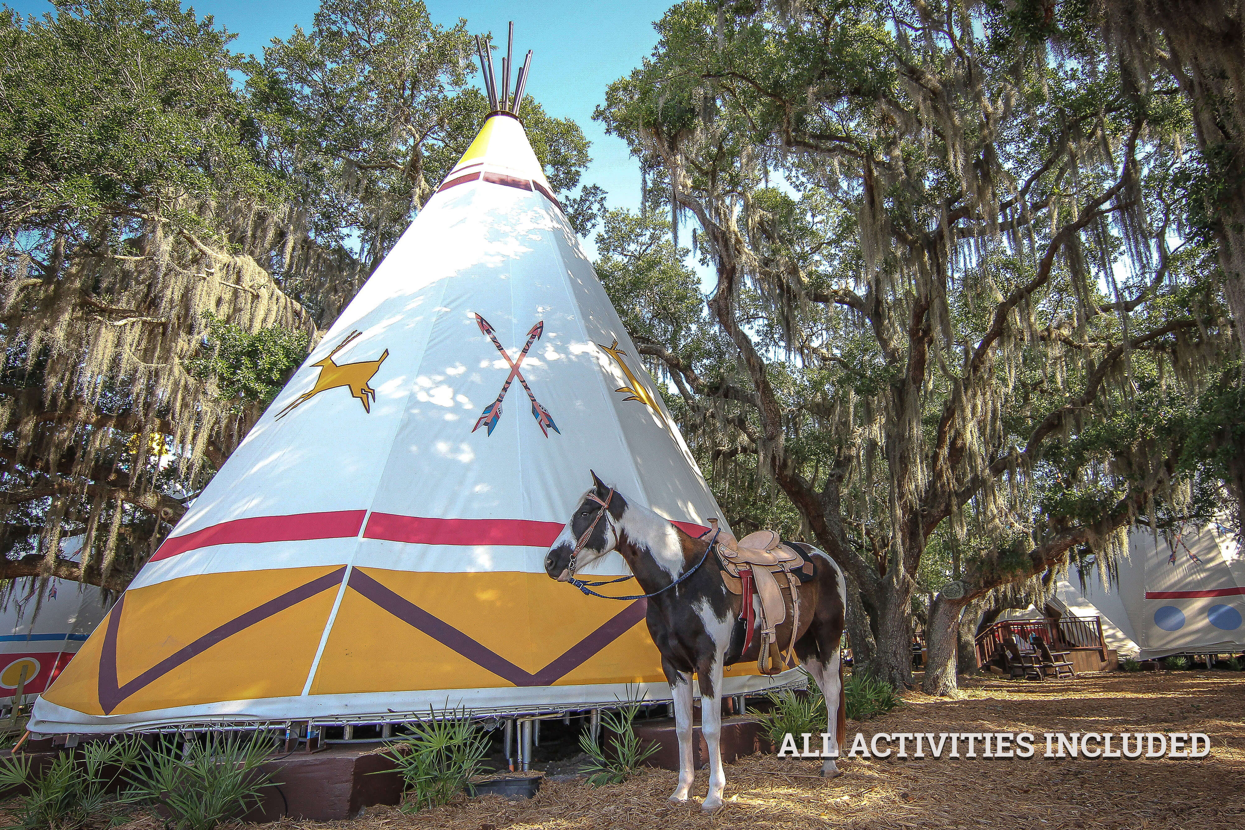 Horse Outside Luxe Teepees for Glamping |  Westgate River Ranch Resort & Rodeo | Westgate Resorts