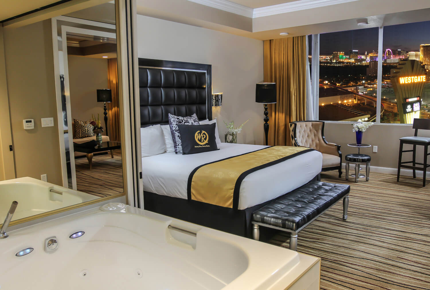 relax and enjoy our newest room type as you embark on your las vegas vacation the spacious one bedroom villa offers classic gold and black dcor at the - One Bedroom