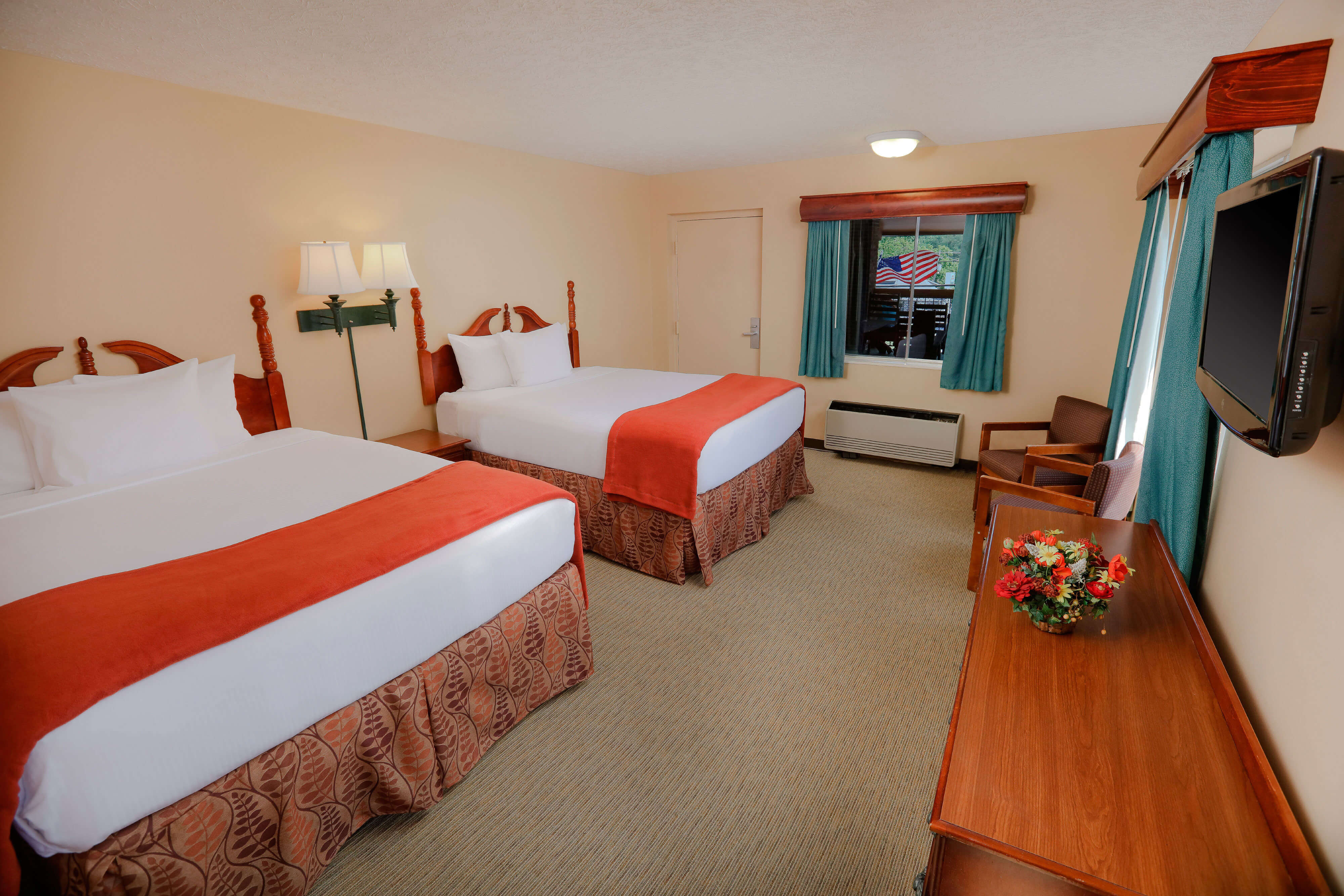 Two Queen Beds in Double Queen Guestroom at one of our Pigeon Forge Resorts | Wild Bear Inn | Westgate Resorts